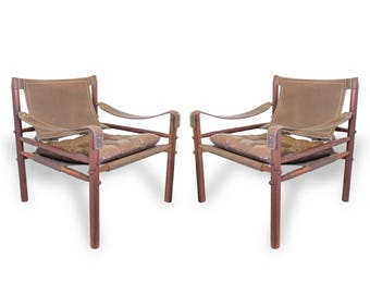 "SALE! Pair of Leather and Rosewood Arne Norell Safari ""Sirocco"" Chairs"