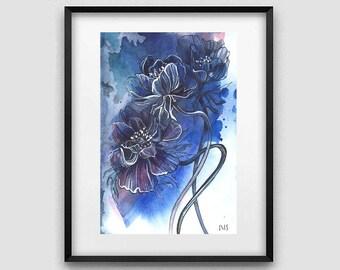 Original watercolor painting / Dark anemones / Watercolor flowers / Dark blue wall art / Home decoration