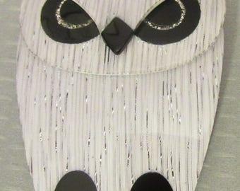 Lea Stein Paris BUBA OWL silver confetti black & white cellulose acetate plastic brooch pin