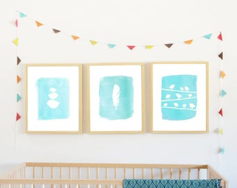 40% OFF Blue Bird Collection, Three Childrens Wall Art Prints, nursery decor, kid art, kids decor, watercolor, nature
