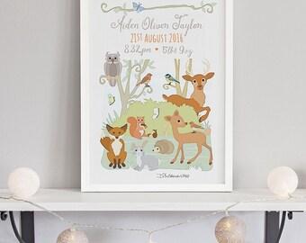 Woodland Animals Birth Print
