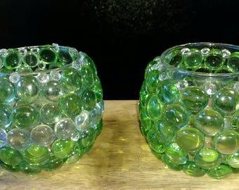 Beaded glass gems small vase