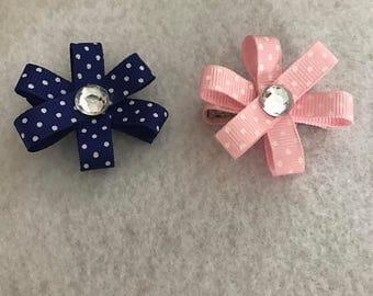 Set of Polka dot flower hair clips, blue and pink polka dot hair bows