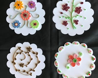 Set of 4 Quilled Notecards with Envelopes