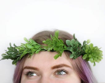 Boxwood Leaves Adult Size Full Flower/Greenery Crown