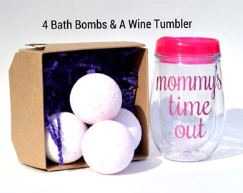 Daycare provider gifts - 4 large bath bombs & a wine tumbler included - appreciation gift - thank you gift - hostess gift - shower gifts
