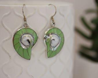 Shell Earrings / Green Shell / Spiral Shell Earrings / Sterling Silver Shell Earrings / Beach Earrings / Summer Earrings / Green Earrings