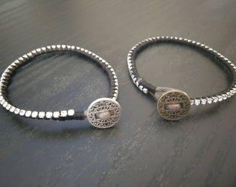 Sparkly rhinestone vegan leather cord wrap bracelet with button clasp
