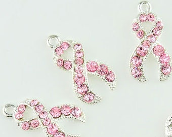 Breast Cancer Charms, Rhinestone Charm, Pink Ribbon Charms, 4 Pieces, Race for a Cure, Breast Cancer Awareness, Pink Ribbon Charm
