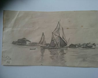 Original 1900s signed pencil sketch