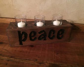 Peace,  3 Votive Candle Holder
