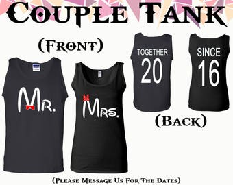 Mr Mrs Couple Tank Mr And Mrs Tank Top Together Since On Back Front Back Printed Tank Couple Tank Couple Tank Top Gift For Couple
