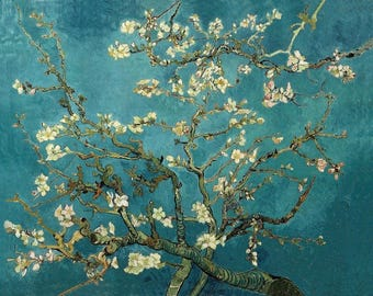 Almond Tree Branch in Blossom  by Vincent Van Gogh.100% Hand Painted Reproduction (Unframed and Unstretched)