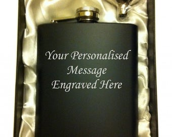 Personalised 7oz black HIP FLASK in GIFT box with funnel (white liner)