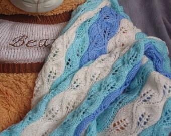 Baby Blanket / Hand knit blanket / blue-light blue-White Blanket