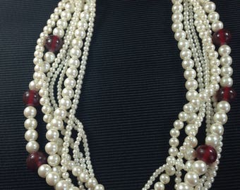 Lovely 1980s Multi-strand Faux Pearl & Red Bead Necklace