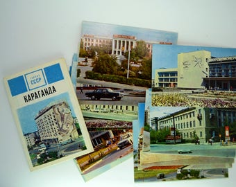 "Set of 15 postcard. ""Cities of USSR:KARAGANDA"". Vintage Soviet Union cards"