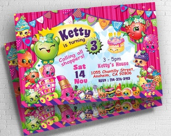 Shopkins Invite Etsy - Blank shopkins birthday invitations
