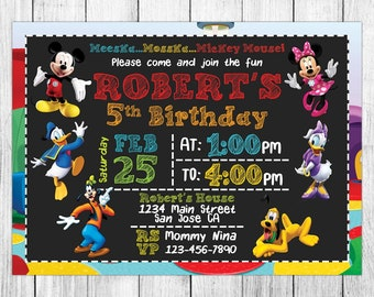 Mickey Mouse Clubhouse Invitation, Mickey Mouse Clubhouse Birthday, Mickey Mouse Clubhouse Invites, Party, Printables, Custom, Evite, Card