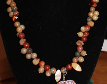 Hand beaded Natural Stone Pendant Necklace