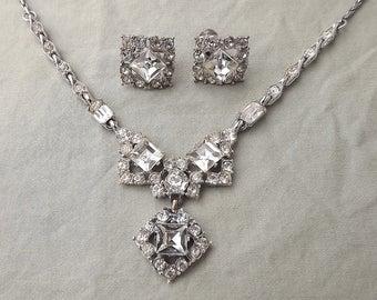 Art Deco BOGOFF Rhinestone Necklace & Earrings Set BRILLIANT