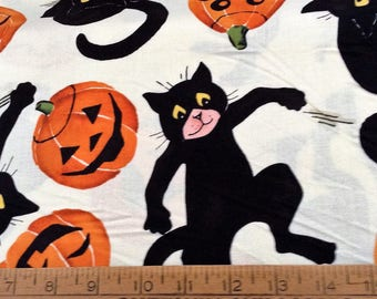 Black cats and pumpkins/Halloween cotton fabric by the yard