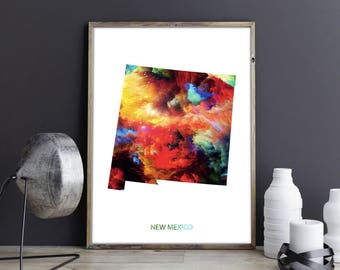 New Mexico Art New Mexico Wall Art New Mexico Decor New Mexico Photo New Mexico Print New Mexico Poster New Mexico State Map Watercolor Map