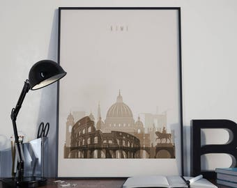 Rome Art Rome Watercolor Rome Multicolor Rome Wall Art Rome Wall Decor Rome Home Decor Rome City Rome Skyline Rome Print Rome Poster