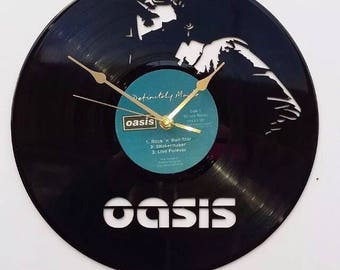 Oasis Record clock, vintage record, classic Iconic legend legendary cover, retro wall clock, old school indie brit pop, wonderwall gallagher