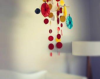 Baby Mobile: Red, Yellow & Aqua