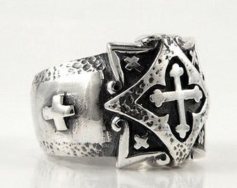 Fatboy Silver 925 Sterling Silver CELTIC CROSS RING Knight Templar Crusade Ireland Scotland Britain Exquisite Design Coptic Wales Latin Knot