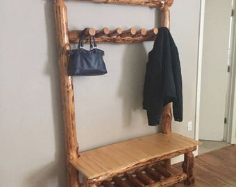 Entryway bench with coat rack