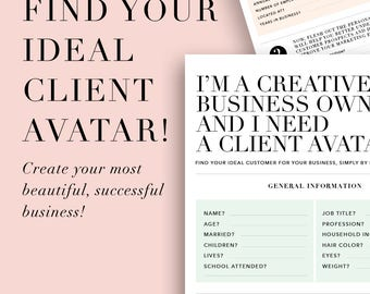 What is a Client Avatar and Why Do I Need One E-Book, Downloadable and Printable Worksheets, A4