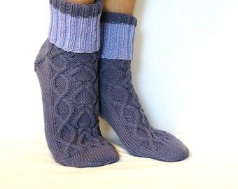 Knitted socks handmade merino wool