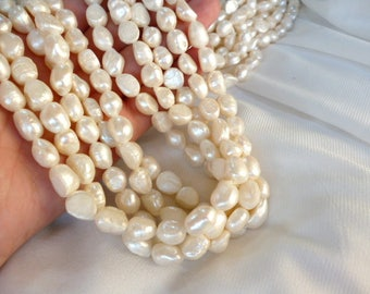 Irregular Ivory River pearls/ PEARLS/ ivory of 8x7x12 mm hole 1 mm strand 30 pearls