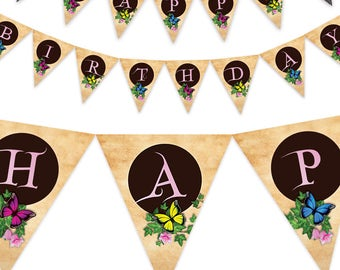 Butterfly Bunting Banner, Printable Birthday Pennant, Butterfly Bunting Flags, Butterfly Party Decor, Butterfly Birthday Banner, pdf DIY