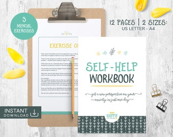 Self Help Workbook, Mental Health, Anxiety Worksheet, PTSD, Health Planner, Self Care, Personal Growth, Mindset Change, Personal Improvement