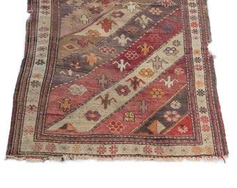 Distressed Tribal rug/antique turkish rug/pink rug/pastel turkish rug/worn rug/distressed rug/vintage tribal rug/vintage rug 3'x4'