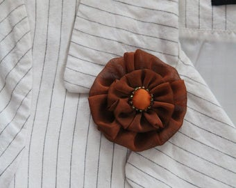 Brooch brick/accessory/jewelry woman vintage silk fabric