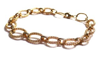 Peruvian filigree 14k yellow gold open link bracelet with lobster clasp