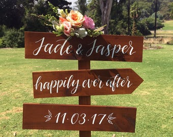 Rustic Wedding Directional Signs. Wooden Wedding Welcome Sign. Wedding Decoration. Fun Wedding Signs.