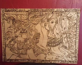 Carousel Horses Woodburning Art