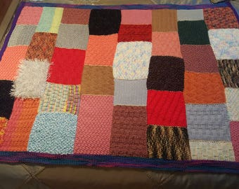 Knitted Afghan Patchwork /Knit Throw/Blanket/Sofa Throw/Lap Blanket Multicolored