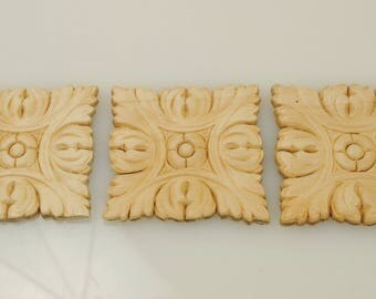 Wood Appliques 2- 1/2 X 2- 1/2 Inches 3 Pieces