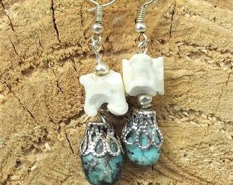 Snake vertebrae and turquoise earrings