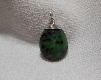 Silver plated copper pendant and ZOISITE