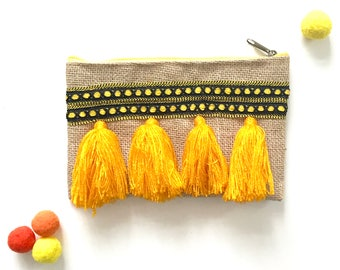 Orange, yellow, pom pom tassel clutch, pouch , moroccan bag