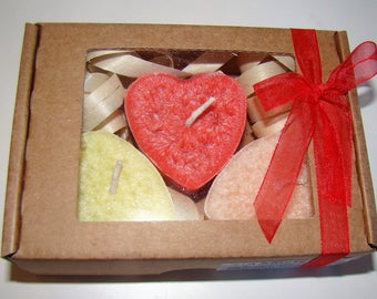Candle gift box, set of 3 candles, Floating candle hearts, scented candles