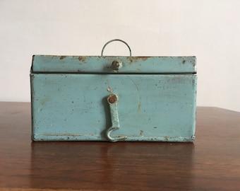 Small box metal rustic rusty blue box iron