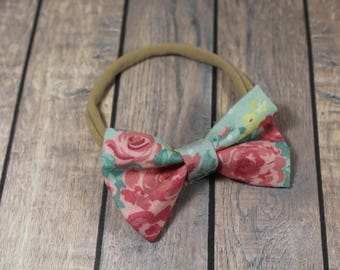 3 Inch Spring Bouquets Floral Hair Bows (Ribbon Covered Alligator Clip or Nylon Headband)